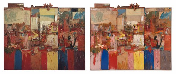 Views of Robert Rauschenberg's Collection (1954/1955) documenting changes in appearance from 1969 to 2013