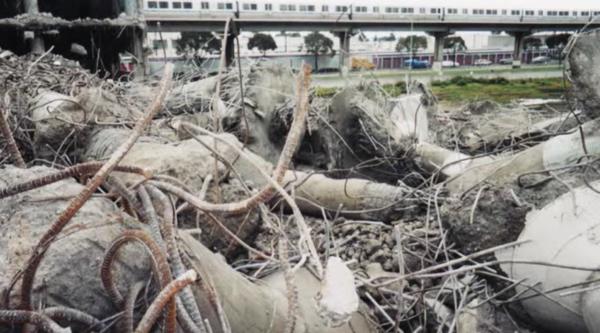 Video still, destruction of Wards building
