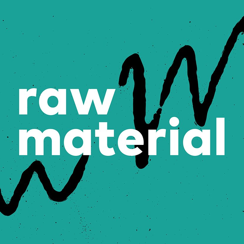 Teal square with black and white squiggly lines and the words Raw Material