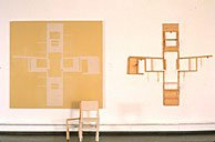Wexler, chair and paintings of four chairs from above