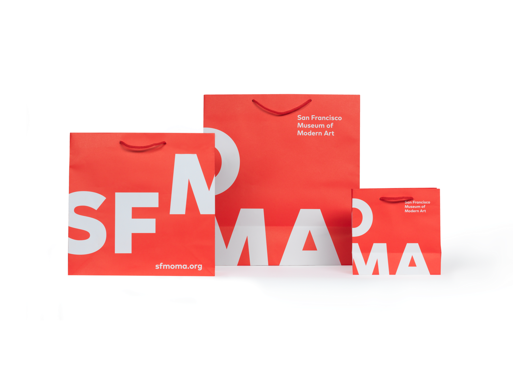 Red SFMOMA gift store bags