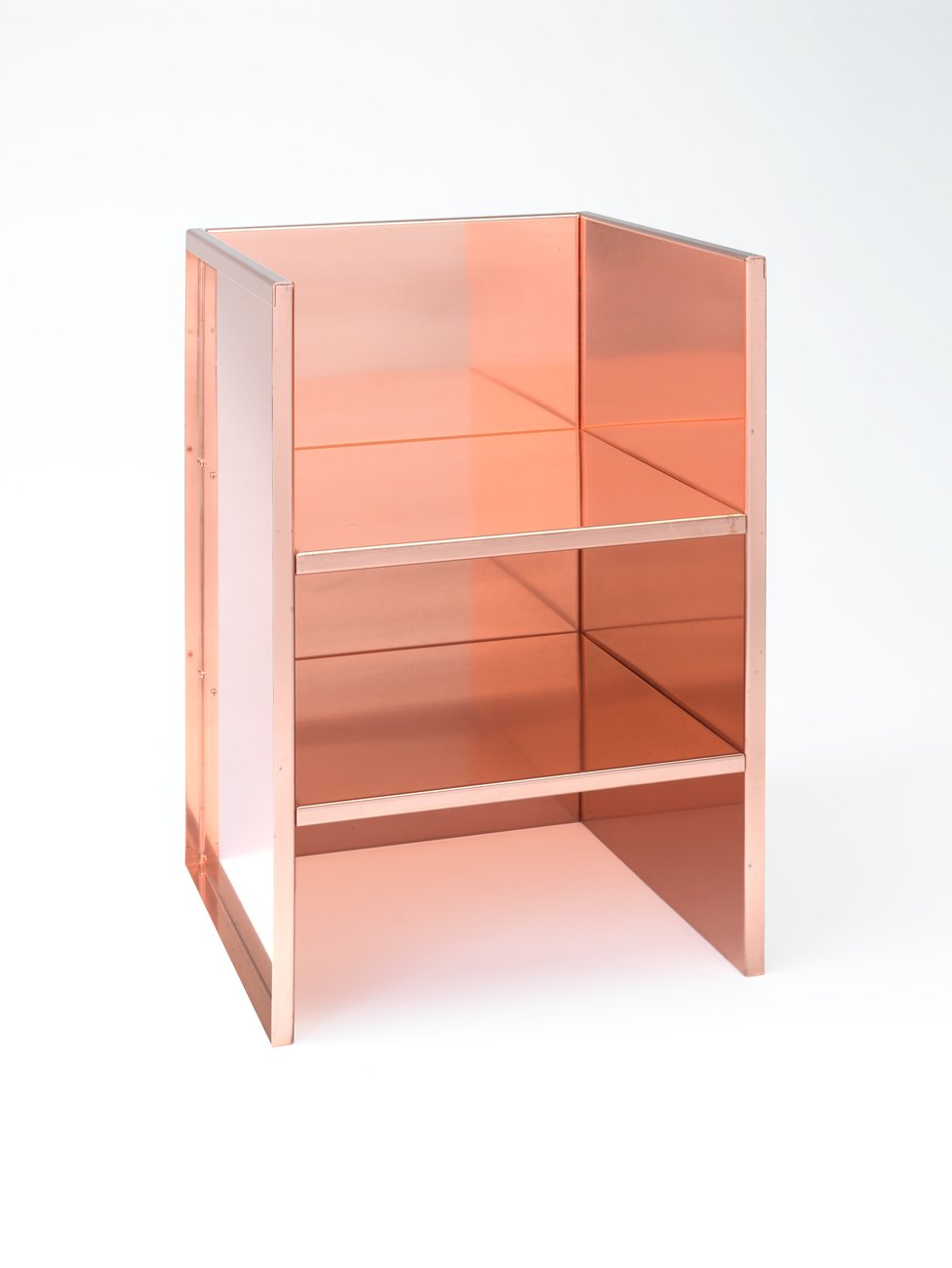 Three-sided vertical copper structure with two copper shelves