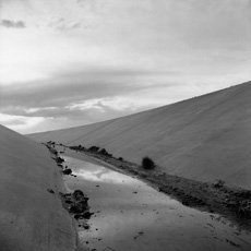 Frank Gohlke, black and white photo of canal in Albuquerque