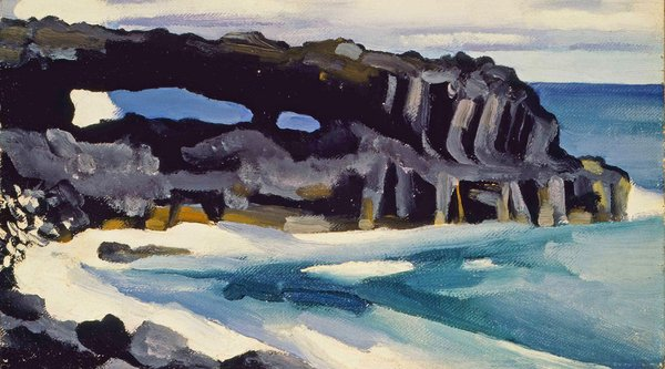 gestural painting of a rocky beach in Hawaii