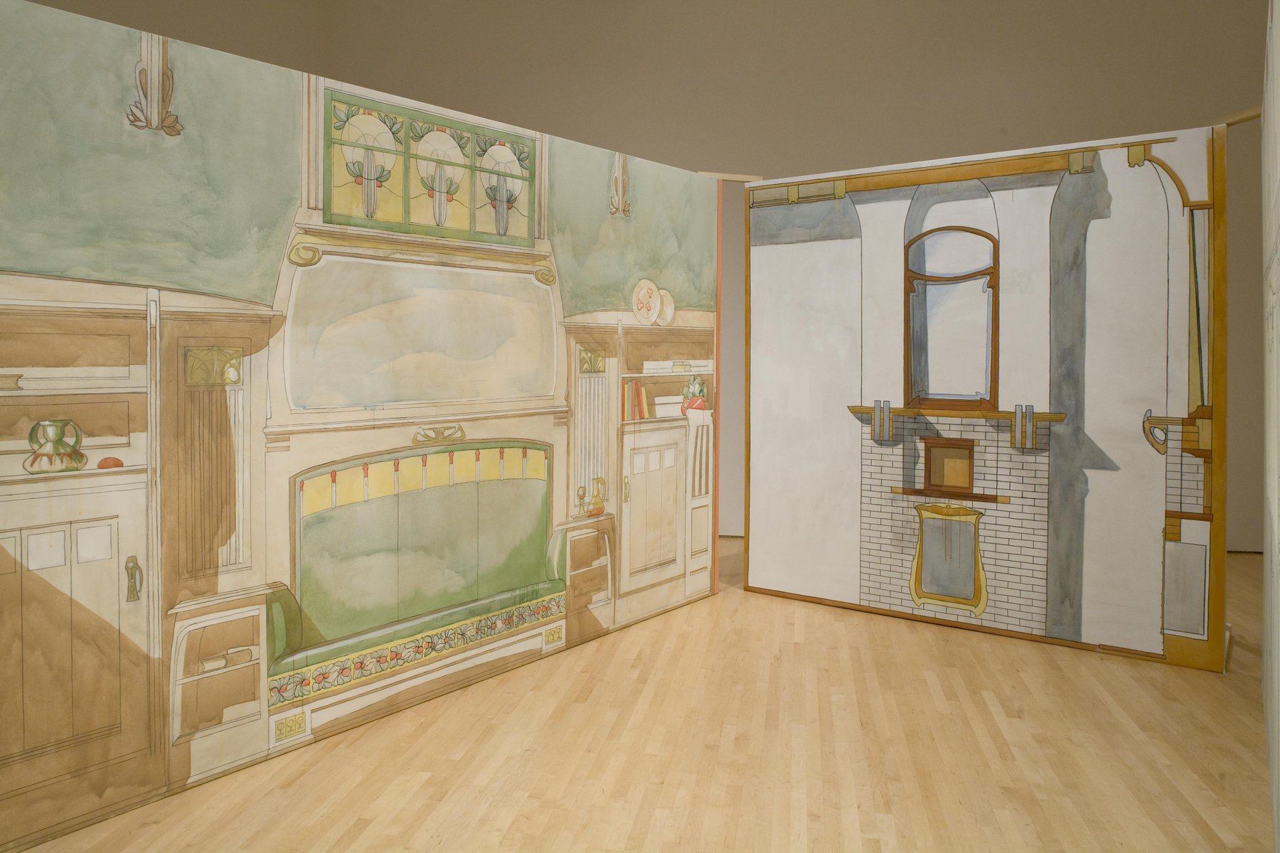two wall-size paintings akin to theater sets depicting interior spaces