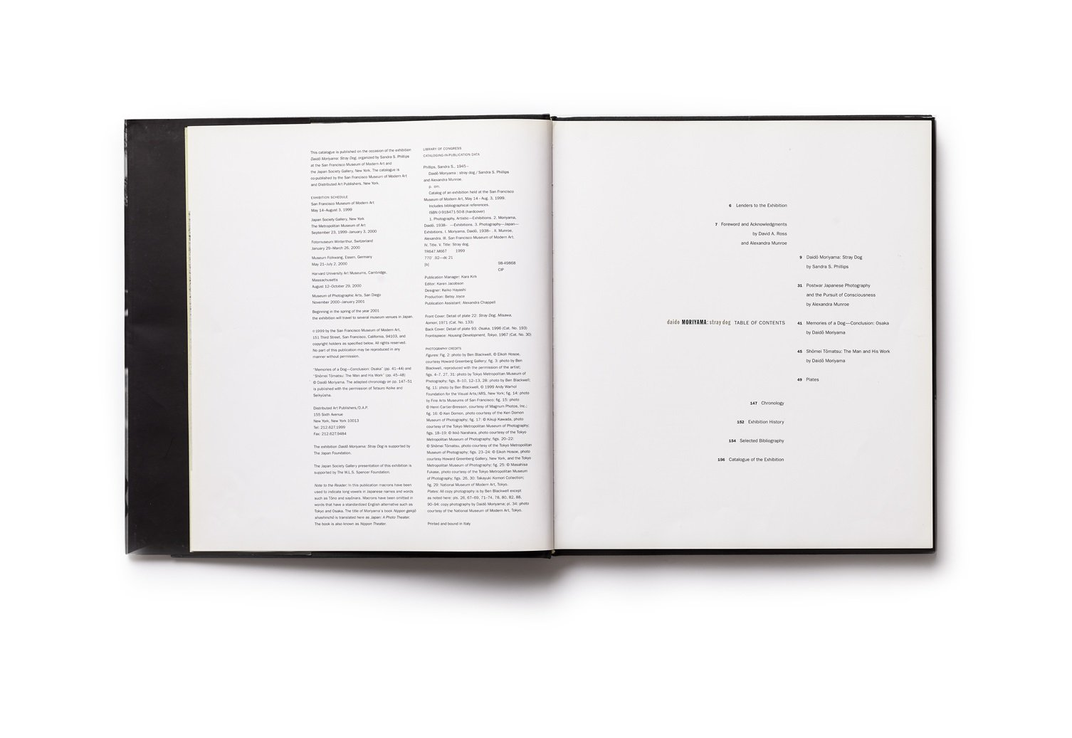 Daido Moriyama publication table of contents