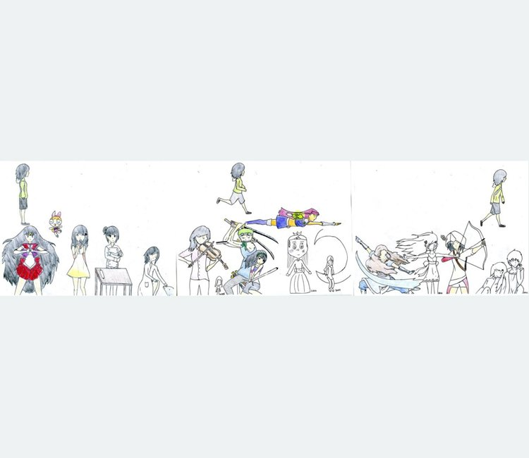Horizontal drawing of anime-style figures performing a variety of everyday and superhuman activities