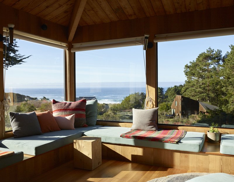 SFMOMA PresentsThe Sea Ranch, Sea Ranch Living room overlooking panoramic view of ocean