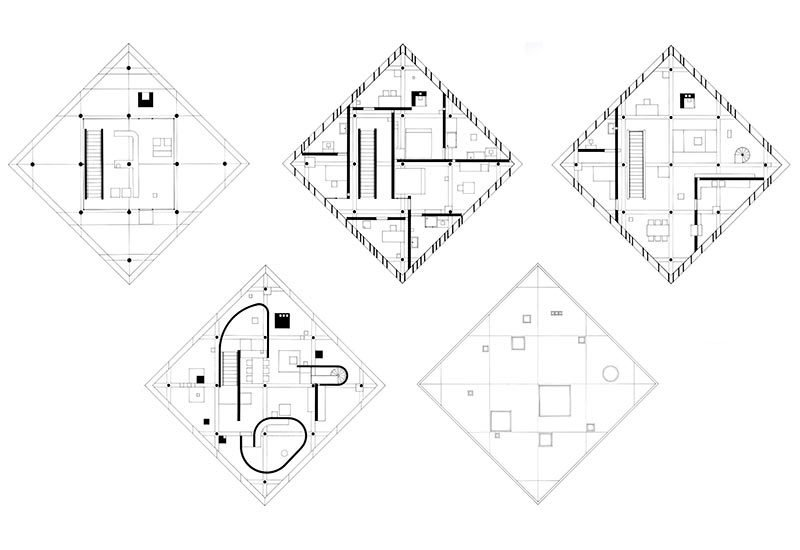 Architectural drawing of a diamond-shaped house, DIAMOND HOUSE JOHN HEJDUK