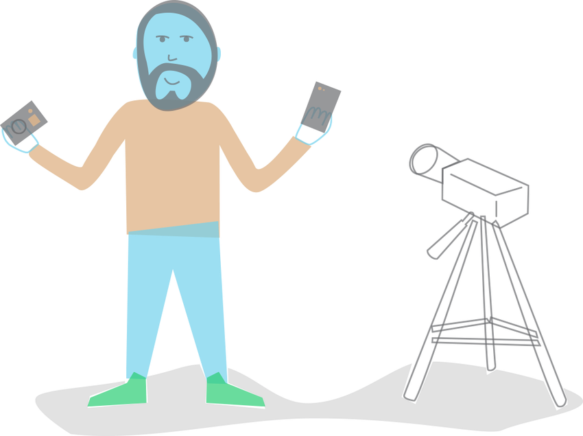 An illustration featuring a bearded man holding a phone with a video camera