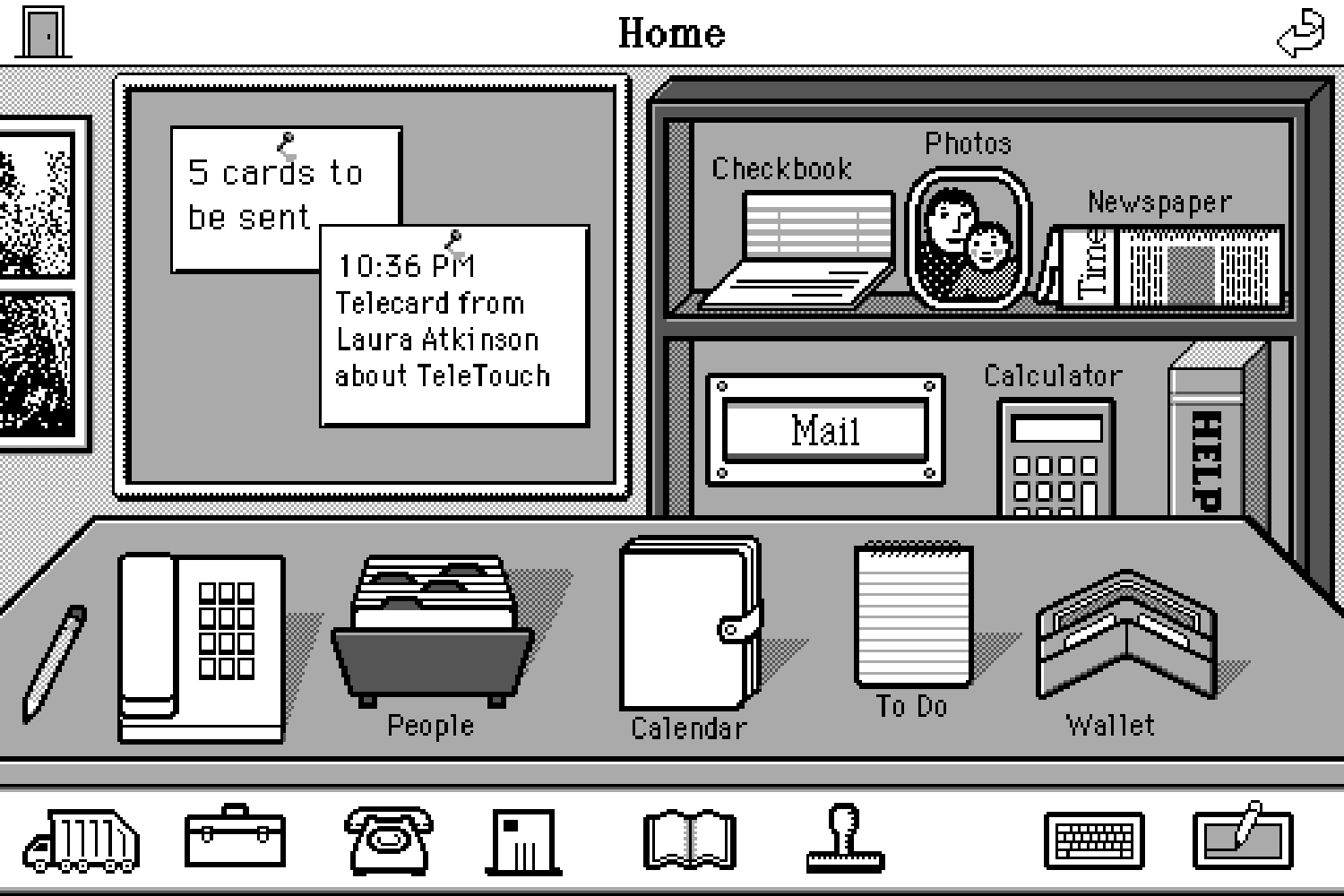 A grayscale 8-bit illustration of a desk with icons and all items labeled