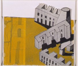 collage with three buildings and yellow background