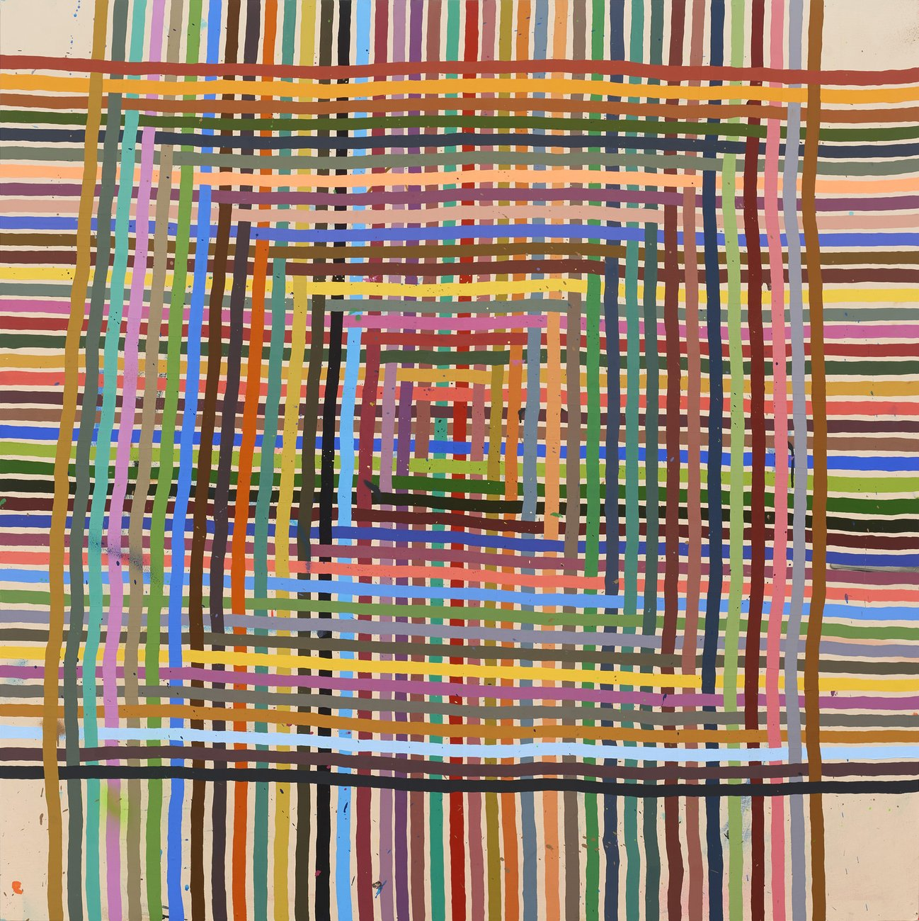 Interwoven colored stripes against a beige background