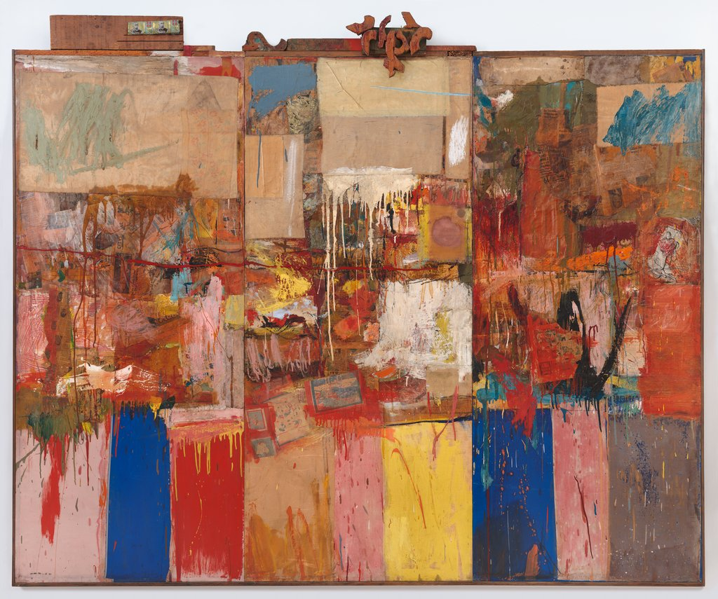 A brightly colored assemblage artwork, Rauschenberg Collection