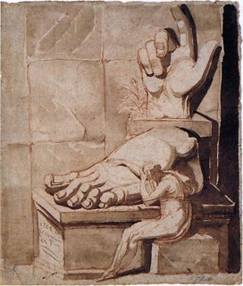 The Artist in Despair before the Magnitude of Antique Fragments (right hand and left foot of the Colossus of Constantine)