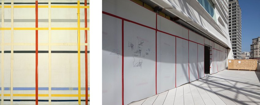 Red, yellow, and white grid next to a terrace under constructions