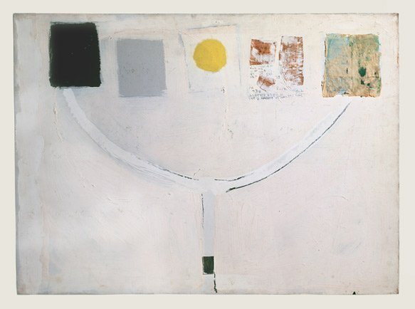 Collage on a white canvas with black, gray and yellow paint, a mirror, newspaper and tissue paper