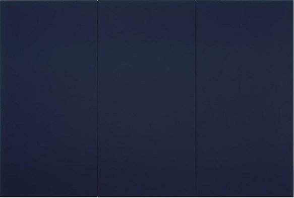 A painting made of three vertical panels, all painted dark blue
