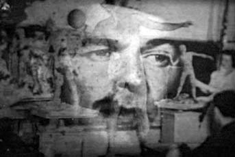 John Davis, overlayed images of man's face and statues