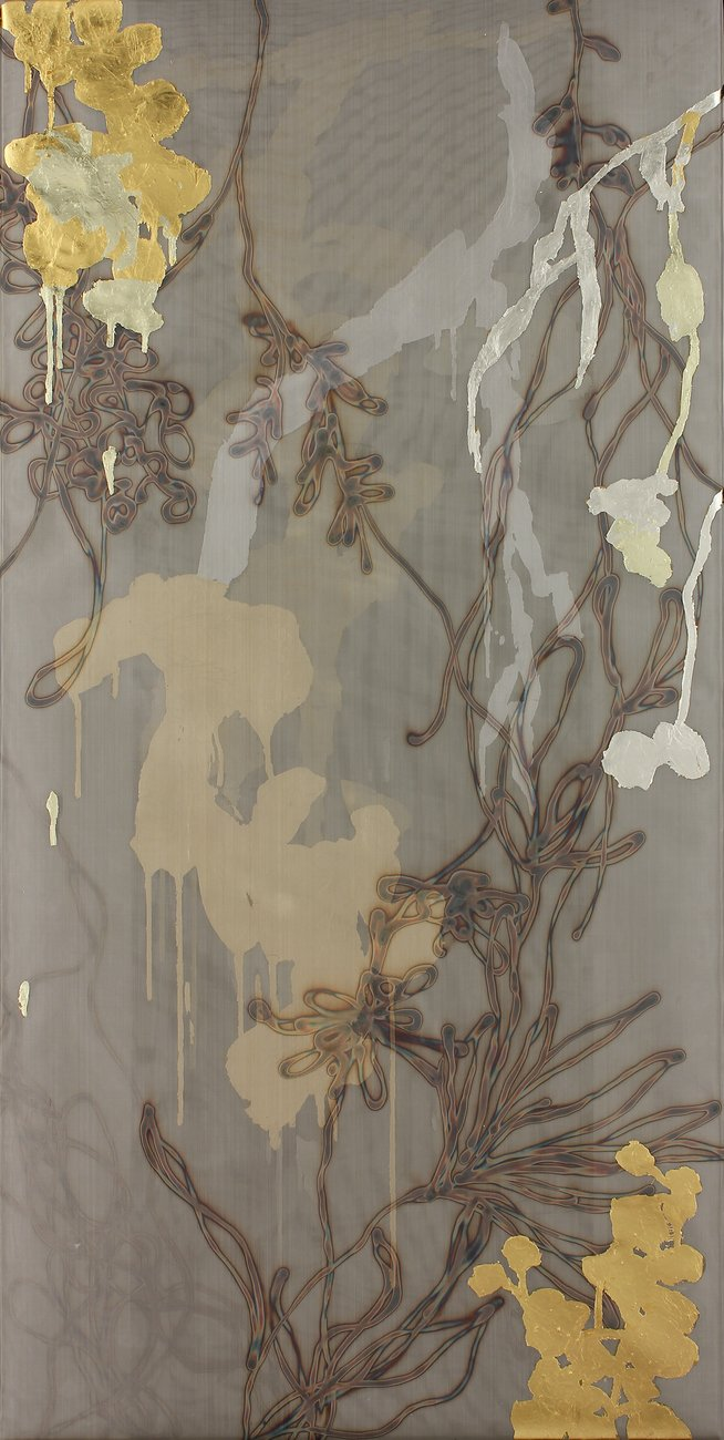 gold leaf painting with branch and flower patterns