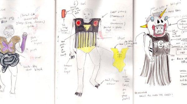 Naomi Rincón Gallardo's costume sketches for The Formaldehyde Trip