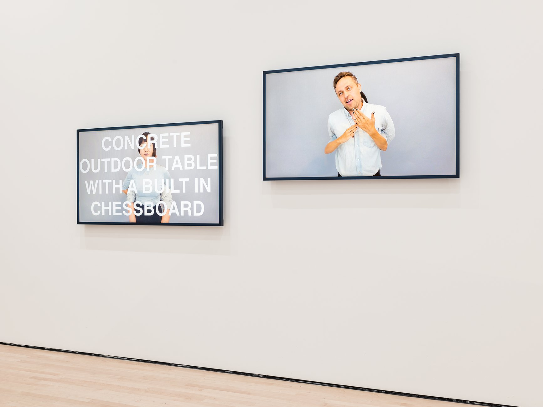 Two video screens in a white gallery, Kim/Mader, Soundtracks