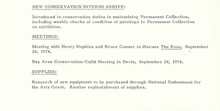 A document listing a meeting between the artist Bruce Conner and then SFMOMA conservator Henry Hopkins