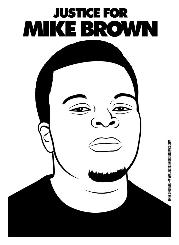 "A black and white digital portrait of a young black man with the words ""Justice for Mike Brown"" written above his head"