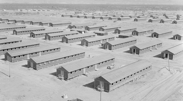 Japanese internment camp seen from above