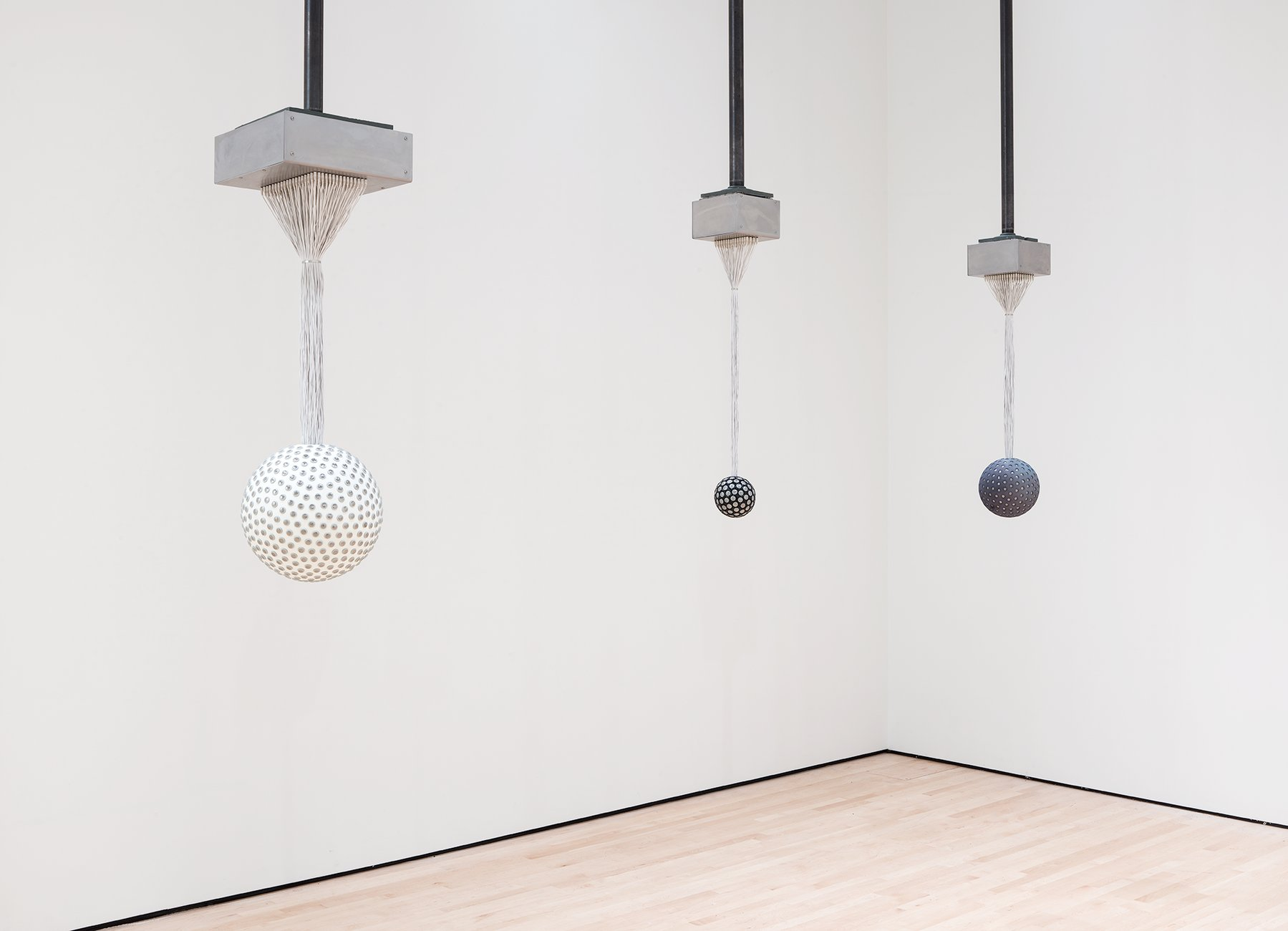 Three spheres are suspended from the ceiling by wires, Lozano_Hemmer, Soundtracks