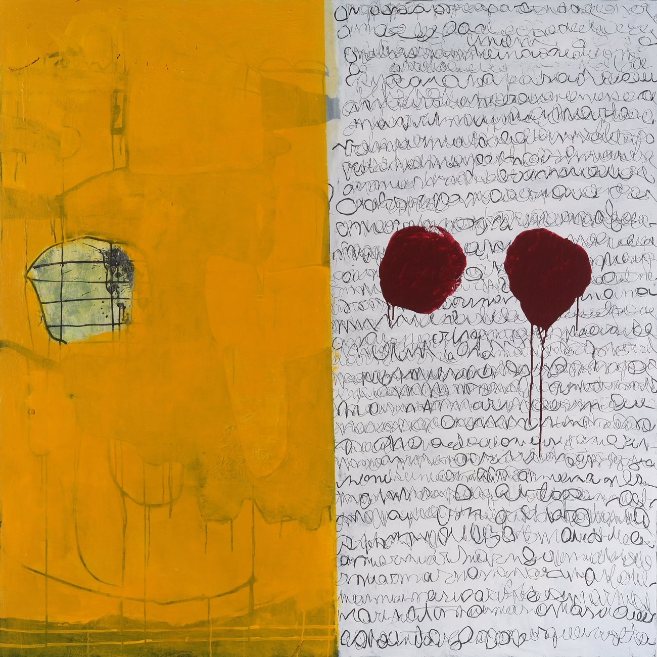 painting with yellow rectangle and two red dripping circles
