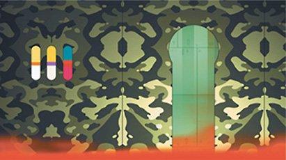 blake, rendering of patterned wallpaper and door