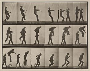 Muybridge, grid of photos of men playing leap frog
