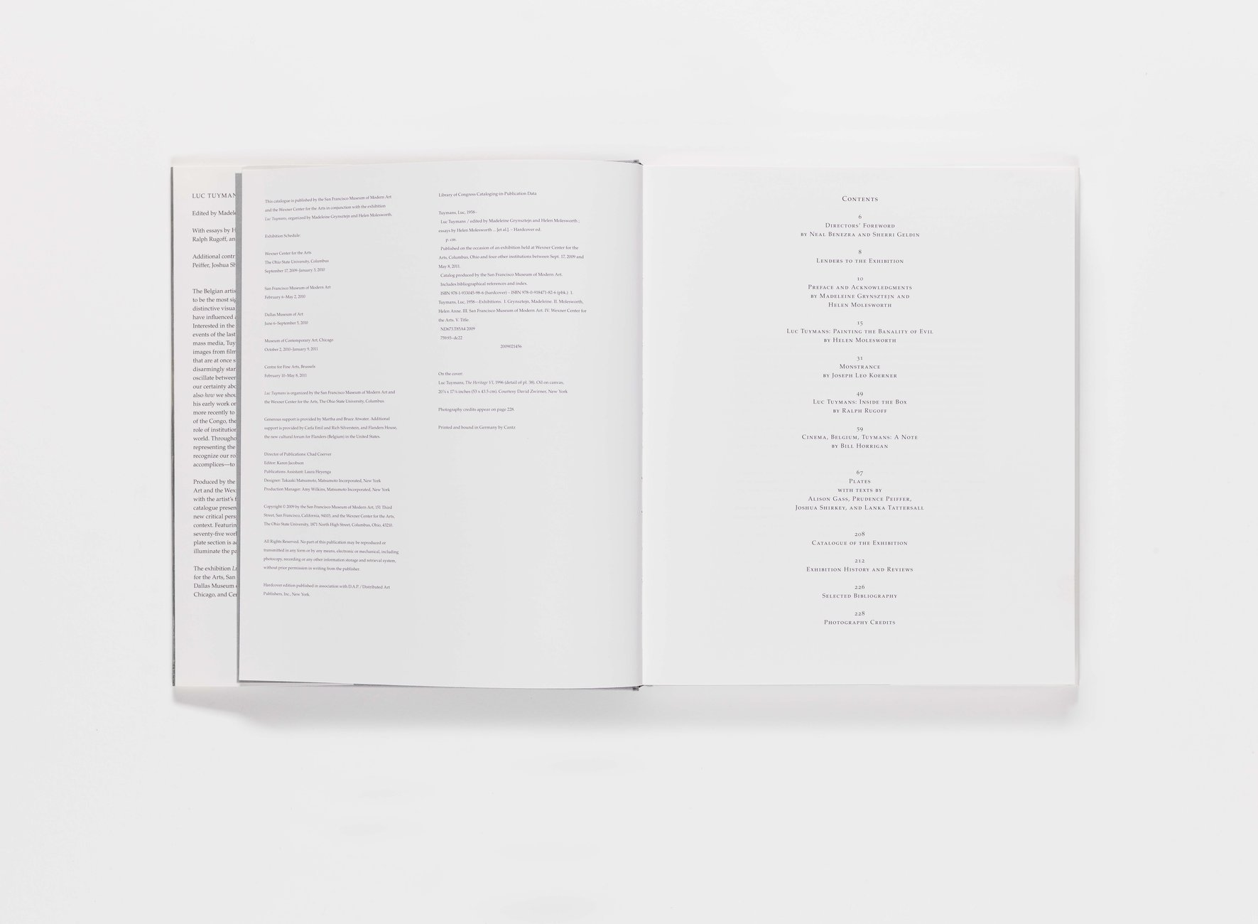 Luc Tuymans publication table of contents