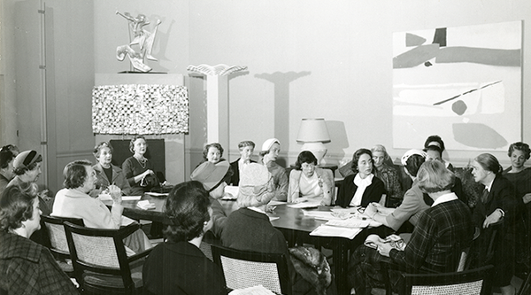 A meeting of the SFMOMA women's board, mid-century