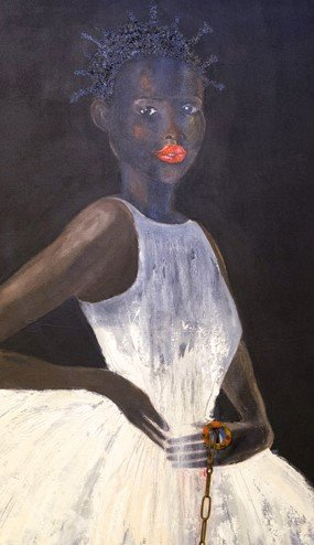 painting of young african american girl in white dress