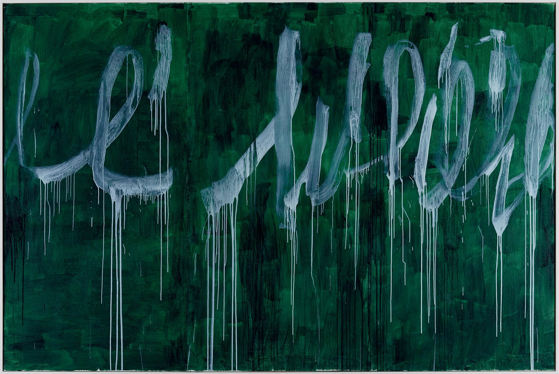 Forest green canvas painted with scrawling, dripping, white loops