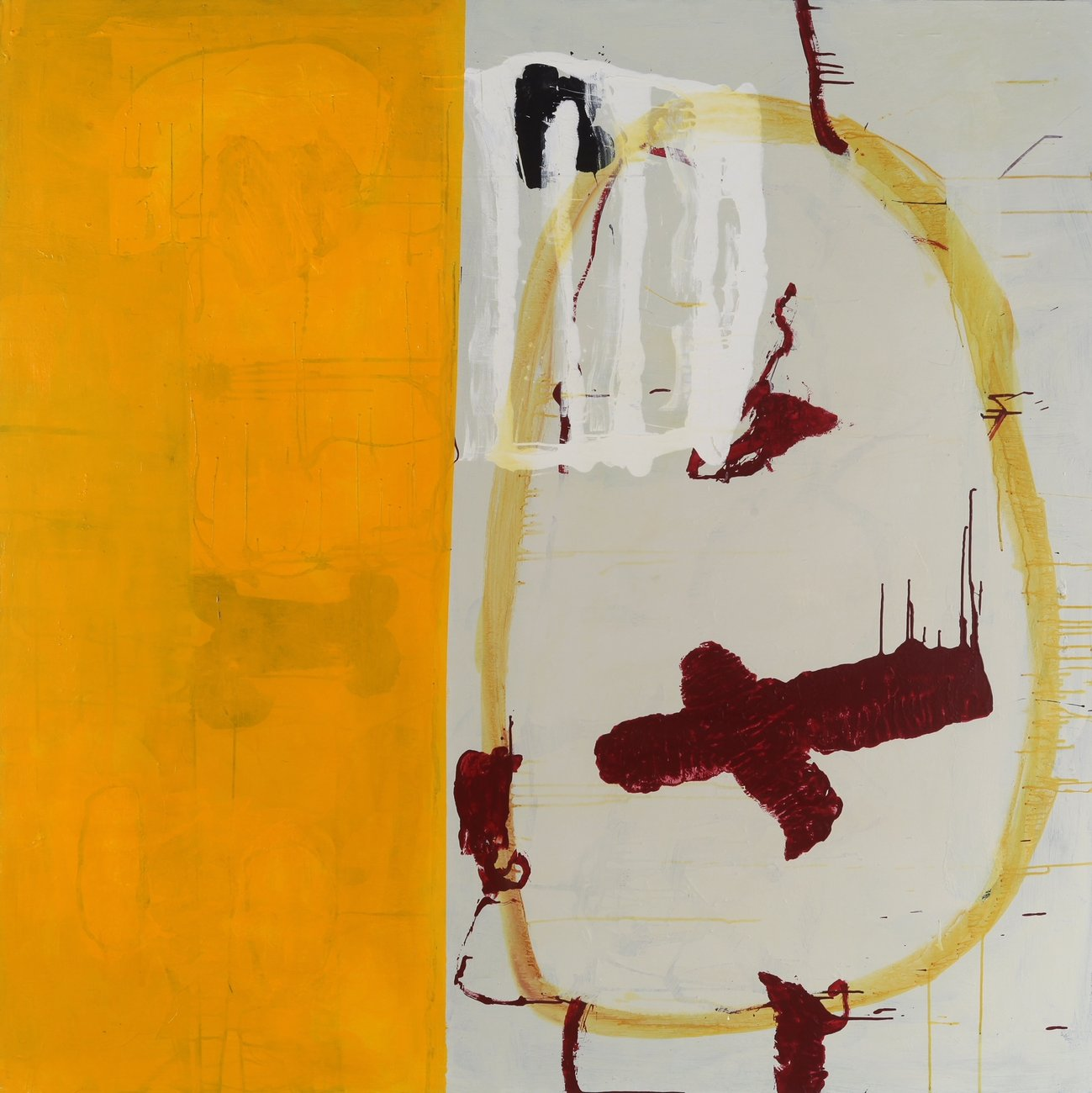 painting half covered in yellow with red and white abstract shapes