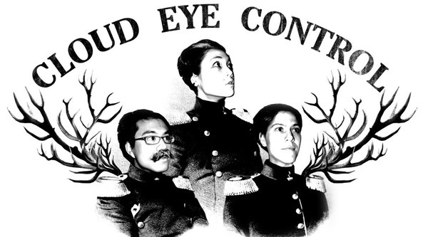 A black and white portrait of three people beneath the words Cloud Eye Control