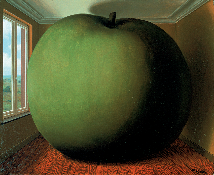 A large green apple fills fills a wood-floored room with a large window overlooking the countryside