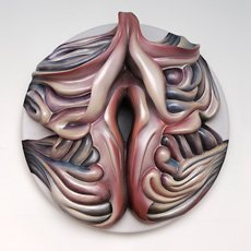 Judy Chicago, pink blue and purple organic sculpture