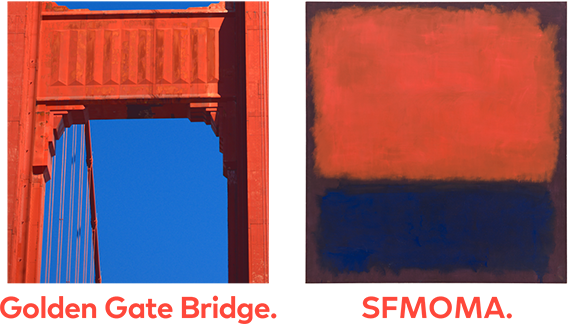 An image of the Golden Gate Bridge next to Mark Rothko's No. 14