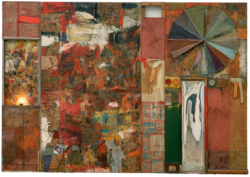 A colorful abstract painting, featuring fans and radios, Rauschenberg, Charlene