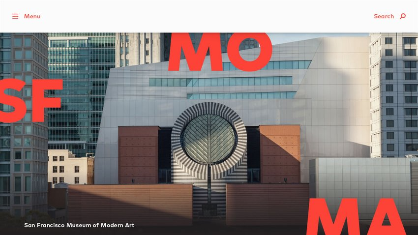 The new sfmoma.org homepage, featuring an expanded red logo with the letters S F M O M A