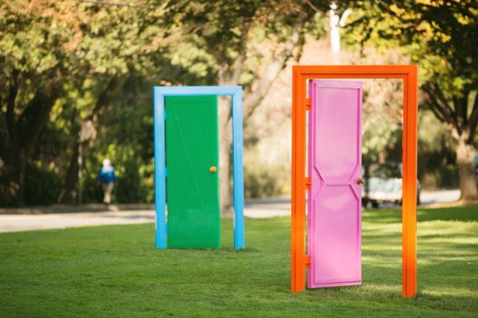 Image of Chris Johanson's Door Sculpture to Talk About the Idea of Different Possibilities You May Have to Process Your Life