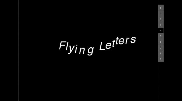 Flying Letters in white on a black screen