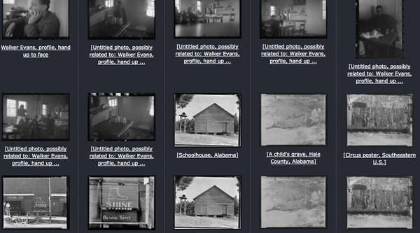 Grid of black and white thumbnail photographs