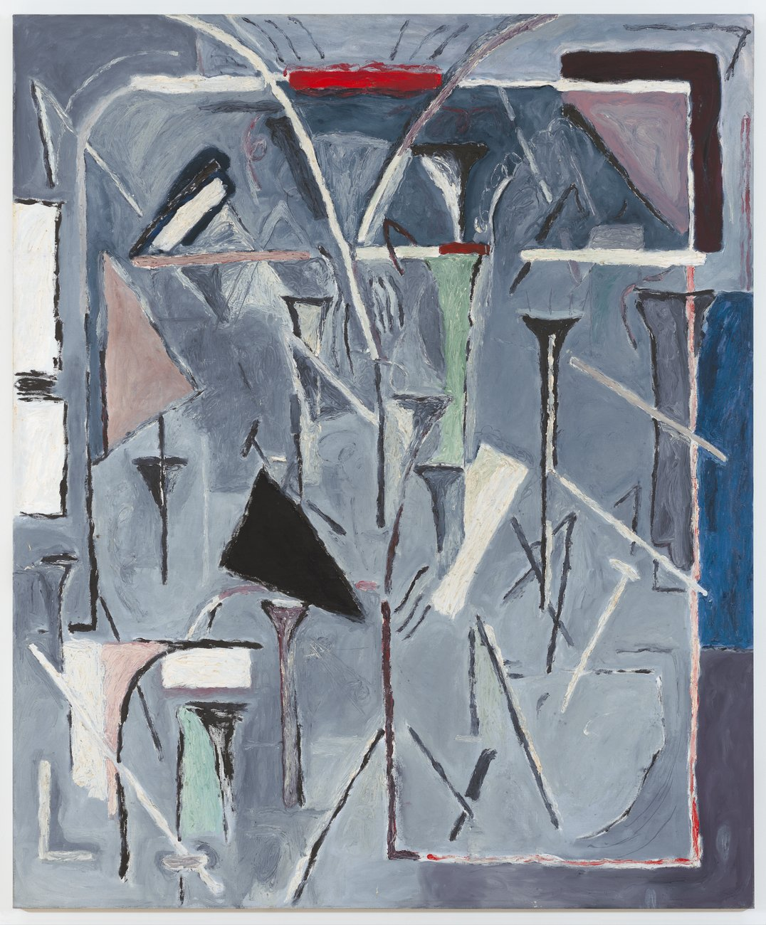 A painting in gray with abstract lines in black and white
