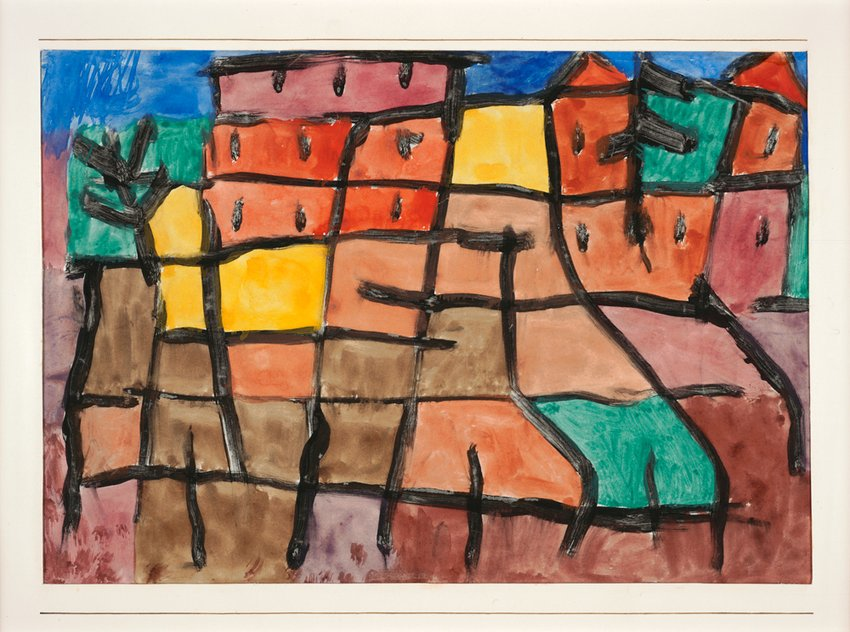 klee colorful watercolor with black grid