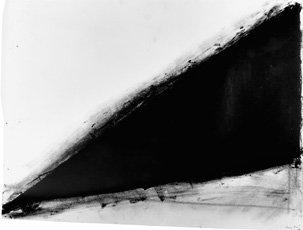 Richard Serra drawing, dark black triangular shape on white background